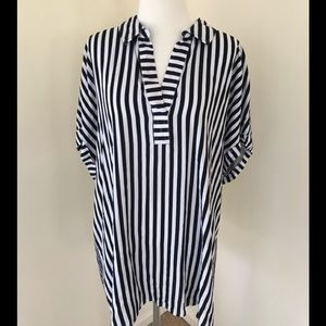 Jane and Delancey 1X striped S/S blouse